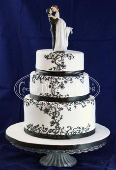 Black and white pressure piped wedding cake by OzGirl