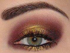 Gold, burgundy.