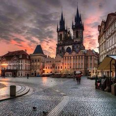 Old Town Square and the church of Our Lady before Týn, Prague Czechia #city #prague #Czechia