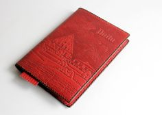 Vintage Red Leather Book Covers, Embossed Soviet Notebook or Diary Covers, Genuine Tooled Leather Souvenir, USSR on 1980s by LittleRetronome