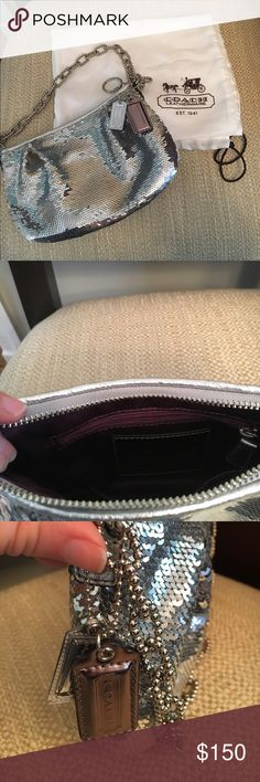 Authentic Coach Purse Silver Sequence Evening Bag Like new Coach purse with chain strap, used once or twice. Absolutely no signs of wear. Perfect evening bag - super classy. Comes with original dust bag but I don't have the original box. Coach Bags Mini Bags