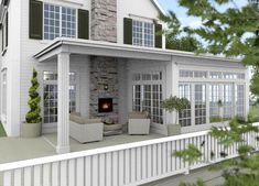 New England Hus - Förslag 7 - Fasad mot sydväst - New England Hus, New England Decor, Sunroom Addition, Backyard Patio Designs, Exterior Makeover, House Extensions, Outdoor Rooms, Cabana, House Colors