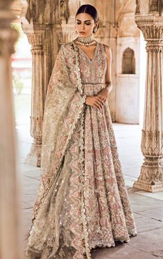 May 2020 - Pakistani Bridal Gown Dress for Wedding in Lilac Color in Traditional style decorr with pretty work. Buy Pakistani Bridal Gown Dress Online in USA. New Bridal Dresses, Desi Wedding Dresses, Bridal Gowns, Wedding Outfits, Wedding Wear, Wedding Bride, Walima Dress, Pakistani Wedding Dresses, Outfit