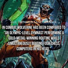 Hes highly intelligent. #wolverine #xmen #hughjackman... Comic Book Characters, Comic Book Heroes, Marvel Characters, Comic Character, Comic Books Art, Marvel Facts, Marvel Jokes, Marvel Dc Comics, Marvel Heroes