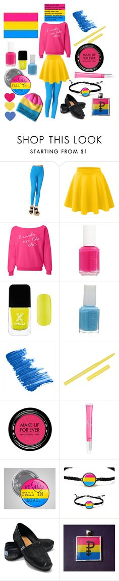 """Pansexual Pride Outfit"" by outcast-and-proud ❤ liked on Polyvore featuring YesStyle Z, LE3NO, Essie, Formula X, Butter London, Stila, MAKE UP FOR EVER, Beauty Rush, TOMS and women's clothing"