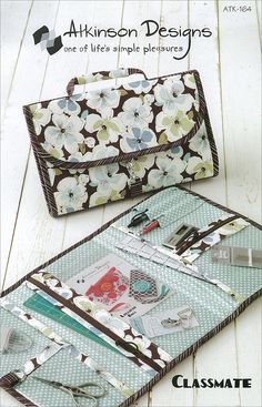 """Classmate pattern by Atkinson Designs - very cool pattern - Lots of pockets - """"fill 'em, fold 'em, and go! 7"""" x 12"""" x 1"""" closed 12"""" x 21"""" open"""""""