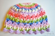 Sugary Love Crochet Baby Beanie Hat - Free Crochet Pattern for a Baby Girl