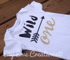 First birthday Gold bodysuit - 1st Birthday Shirt - Wild ONE bodysuit - Glitter Birthday bodysuit -