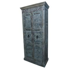 Indian Old Two Door Cabinet | Indian Vintage Two Door Cabinet | Indian Old Two Door Almirah | Indian Old Two Door Armoire | Rustic Indian Old Two Door Cabinet