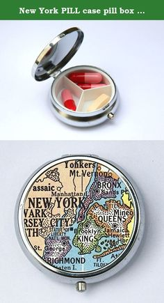 """New York PILL case pill box pillbox holder Vintage Map Bronx Brooklyn Queens. Case hold about 18 to 20 cigarettes. Or you can hold Ids, business cards or other things. The case is metal with two hinged side. This case opens through a side push button. The size of the case is 4 1/4"""" tall by 3 1/4"""" inches wide closed by 1/2"""" deep. Image is protected by clear epoxy."""