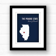 Illinois map // Illinois art // custom by PaperFinchDesign on Etsy