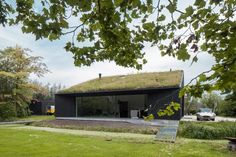 Villa SG21 is a monolithic blackened-wood house topped with a turfed roof