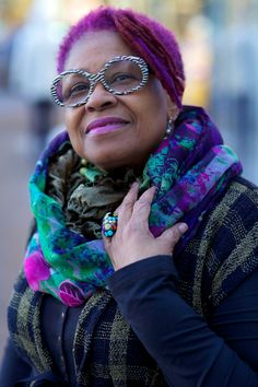 Maureen with coordinated scarf and hair... ADVANCED STYLE: What Are Your Winter Style Secrets?