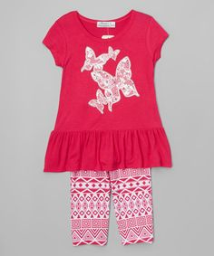 Fuchsia Butterfly Ruffle Tee & Geometric Leggings - Toddler & Girls #zulily #zulilyfinds
