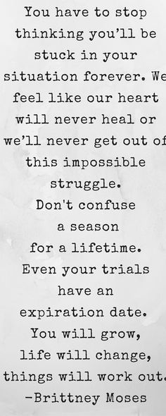 Don't confuse a season for a lifetime.