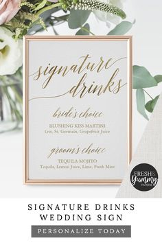 Signature Drinks Wedding Reception Sign by Fresh & Yummy Paperie. The simple and elegant design features stunning faux g Wedding Reception Signs, Wedding Signage, Minimalist Wedding Reception, Reception Seating, Wedding Sparklers, Wedding Receptions, Dream Wedding, Gown Wedding, Lace Wedding