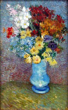 Still Life Art Poster - Flowers in a blue vase by Van Gog... ○ #Art