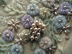 Vintage Cashmere Pringle Scotland Beaded Cardigan This exquisite beaded cardigan is Cashmere. There are clusters of iridescent Embroidery On Clothes, Types Of Embroidery, Beaded Embroidery, Embroidery Stitches, Embroidery Patterns, Hand Embroidery, Diy Bordados, Couture Embroidery, Lesage