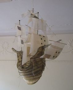 papier mache sailing ship by Ann Wood. So beautiful. object that represents a point in time, an event, Paper Mache Projects, Paper Mache Crafts, Flying Ship, Ann Wood, Paperclay, Paper Ship, Textile Art, Sailing Ships, Fiber Art