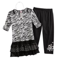Knitworks Zebra Tunic & Leggings Set - Girls 7-16
