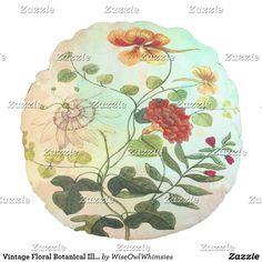 Vintage Floral Botanical Illustration Flowers Art Round Pillow, SOLD!!