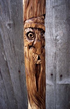 """Walking stick with Hand Carved Wood Spirit - 60"""" Collectors Wood Hiking staff"""