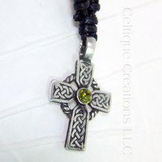 Celtic Cross Fine Pewter Adjustable Necklace with Green Rhinestone #Celtic #celticcross #celticcrossnecklace #celticjewelry #celtiquecreations