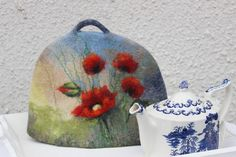 Felted Tea Cosy blue teapot cozy green teapot warmer teapot cover floral coffee pot cosy red poppy natural wool exclusive gift under 60