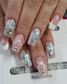 Gray Nails, Love Nails, Glitter Nails, Fun Nails, Beautiful Nail Designs, All That Glitters, Perfect Nails, Nail Inspo, Manicure And Pedicure