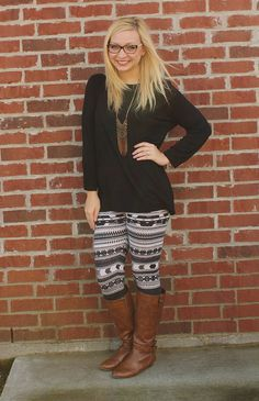 black button up + patterned leggings + boots. Goodwillista blog