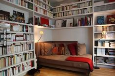 Awesome Home Library.. I like how the corner is occupied by that comfortable couch/bed