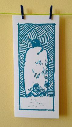 Emperor Penguin & Chick Greetings Xmas Midwinter Baby Yule Hanukkah card blank inside lino print