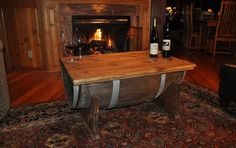 Learn how to turn an old whiskey barrel into an amazing whiskey barrel coffee table. The table top is hinged which makes the furniture a functional whiskey barrel Coffee Table Whiskey Barrel Coffee Table, Whiskey Barrel Furniture, Wine Barrel Table, Wine Barrels, Coffee Table Plans, Cool Coffee Tables, Coffee Table With Storage, Table Storage, Storage Chest