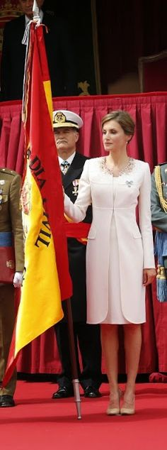 Queen Letizia of Spain attends a ceremony held in honour of the Spanish Guardia Civil at their headquarters, in Vitoria on May 13, 2015.