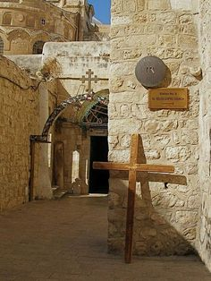 Via Dolorosa ninth station: Roman pillar in far corner marks Jesus' third fall.