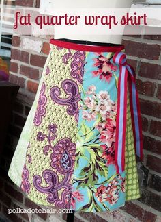 Fat Quarter Skirt Tutorial I will probably try this with yardage though.  I want mine longer than 22 inches so I don't worry about my skirt being too short in my wheel chair.  I also won't make mine a wrap since it is hard transferring in and out of the chair in a wrap skirt.