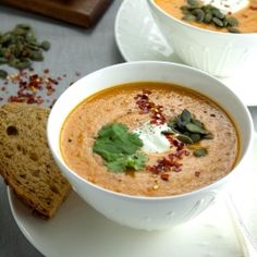 Spicy Tomato & Red Lentil Soup, perfect for those colder Autumn days.