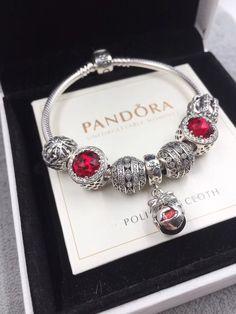 $171 Pandora silver red tone bracelet