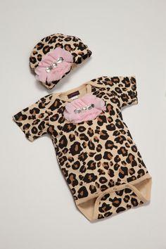 Leopard Print Baby Girl Onesie Set Short Sleeve by jacqueline225, $25.00