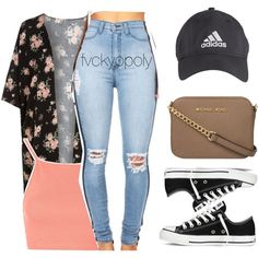 Untitled #349 by fvckyopoly on Polyvore featuring polyvore, fashion, style, Topshop, Converse, MICHAEL Michael Kors, adidas and clothing