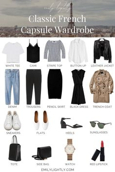 The Classic French Capsule Wardrobe The Classic French Capsul. The Classic French Capsule Wardrobe The Classic French Capsule Wardrobe - Emily Lightly // minimalism, simple style, slow fashion, minimalist outfit ideas. Looks Street Style, Looks Style, My Style, Curvy Style, French Capsule Wardrobe, French Wardrobe Basics, Simple Wardrobe, Capsule Wardrobe Casual, Parisian Wardrobe