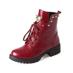 WeiPoot Ladys Closed Round Toe Low Heel PU Soft Material Solid Boots with Metalornament and Rivet ** This is an Amazon Affiliate link. Click image for more details.