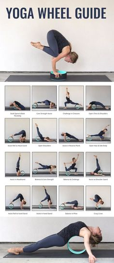 Yoga Wheel Guide with tons of awesome poses!! Get the guide by clicking on this pin <3