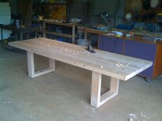 Douglas Fir Dining table under construction 3m long 1m wide