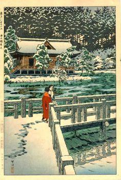 Inokashira benten (Inokashira Shrine), by Kasamatsu Shiro, 1953 (Tokyo hakkei no uchi - Series of the eight views of Tokyo) -- See also at: http://www.hanga.com/viewimage.cfm?ID=2749