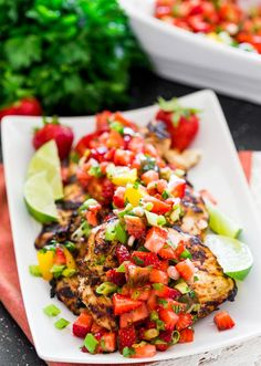 Cilantro Lime Grilled Chicken with Strawberry Salsa - a light and refreshing strawberry and jalapeno salsa with marinated grilled chicken, perfect for summer!
