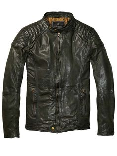 Leather Biker Jacket With Shoulder Panels > Mens Clothing > Jackets at Scotch & Soda