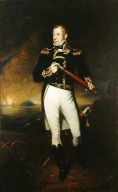 Portrait of Lord Cochrane by James Ramsay, c.1830 - Admiral Thomas Cochrane, 10th Earl of Dundonald, 1st Marquess of Maranhão (1775-1860), styled Lord Cochrane between 1778 & 1831, was a Scottish naval flag officer of the Royal Navy & radical politician. He was a daring & successful captain of the Napoleonic Wars, leading the French to nickname him Le Loup des Mers ('The Sea Wolf').