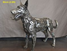 Dog sculpture, life-size scrap metal art - photo by scrap-metal-art-thailand