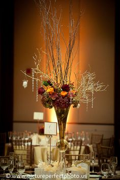 stunning raised centerpiece.  crystals add a sophisticated touch